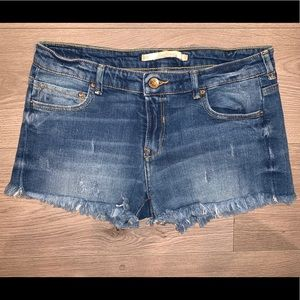 Zara Women Cut Off Denim Jean Shorts